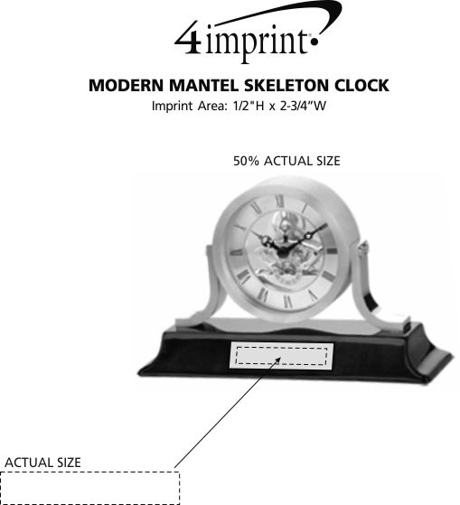 Imprint Area of Modern Mantel Skeleton Clock