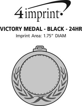 Imprint Area of Victory Medal - Black Ribbon - 24 hr