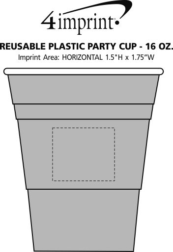 Imprint Area of Reusable Plastic Party Cup - 16 oz.