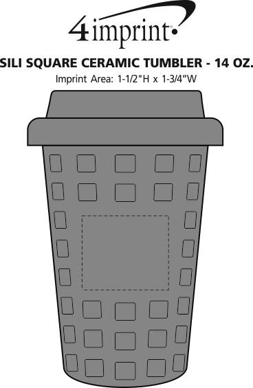 Imprint Area of Sili Square Ceramic Tumbler - 14 oz.