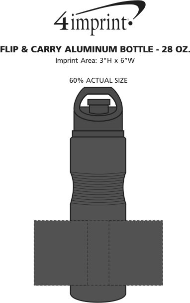 Imprint Area of Flip & Carry Aluminum Bottle - 28 oz.