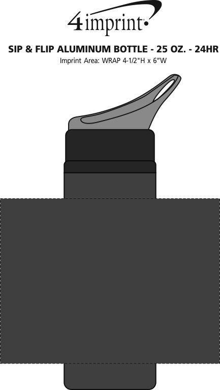 Imprint Area of Sip & Flip Aluminum Bottle - 24 oz. - 24 hr