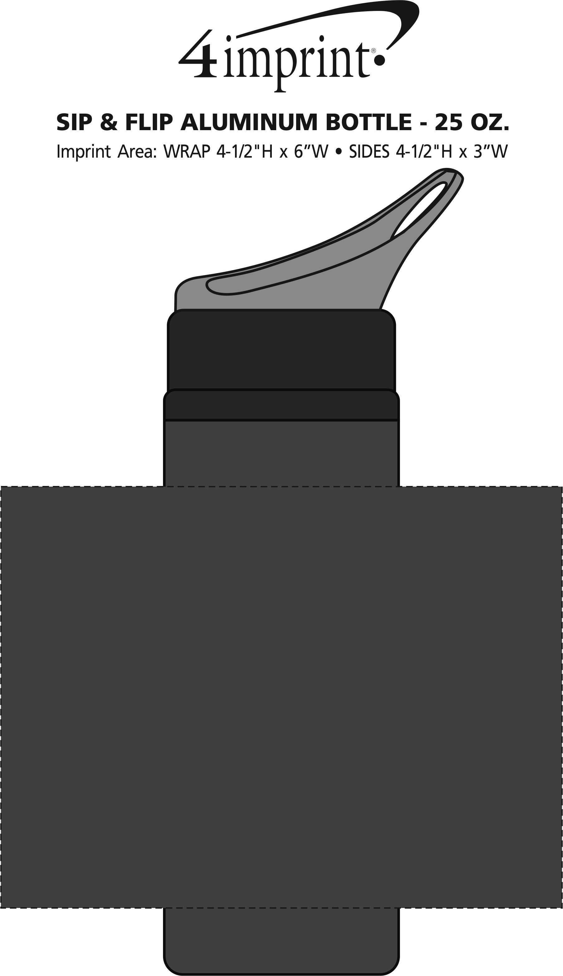 Imprint Area of Sip & Flip Aluminum Bottle - 24 oz.