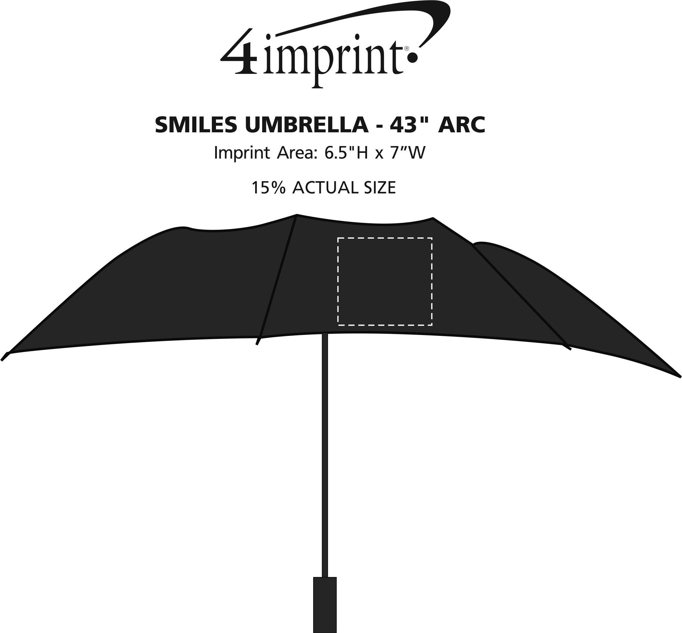 """Imprint Area of Smiles Umbrella - 43"""" Arc"""