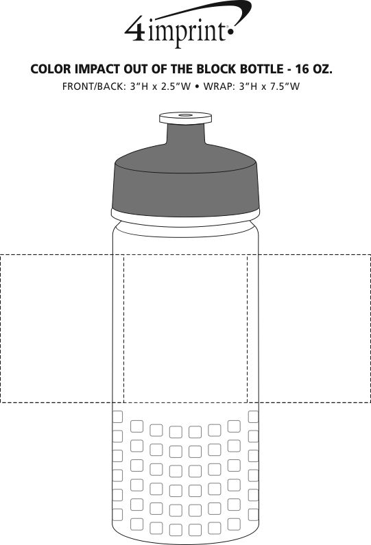 Imprint Area of PolySure Out of the Block Water Bottle - 16 oz. - Clear