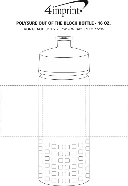 Imprint Area of PolySure Out of the Block Water Bottle - 16 oz.