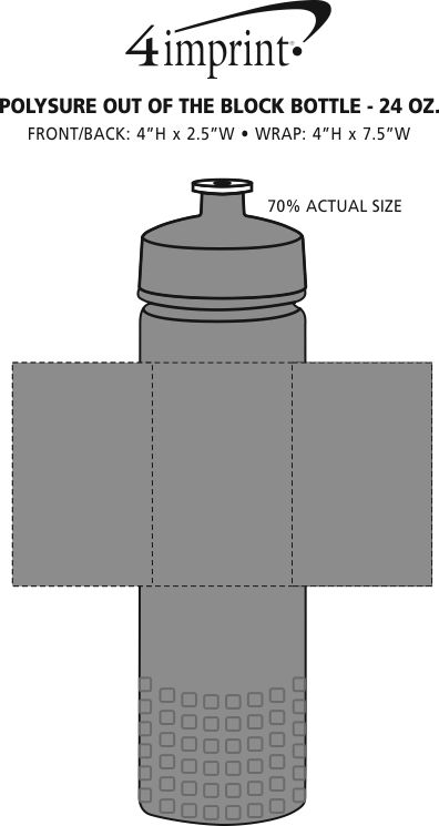 Imprint Area of PolySure Out of the Block Water Bottle - 24 oz.