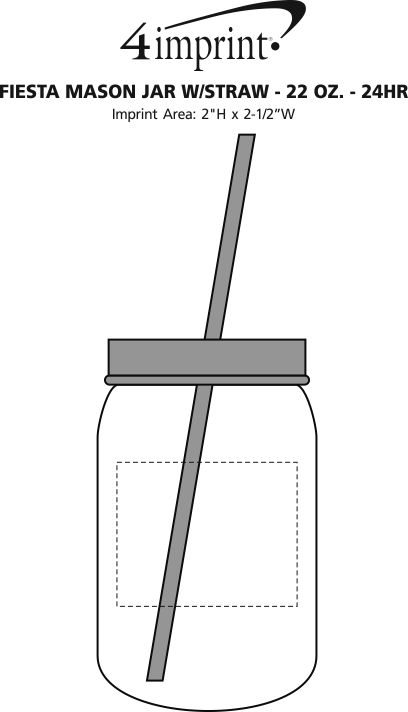 Imprint Area of Fiesta Mason Jar with Straw - 22 oz. - 24 hr