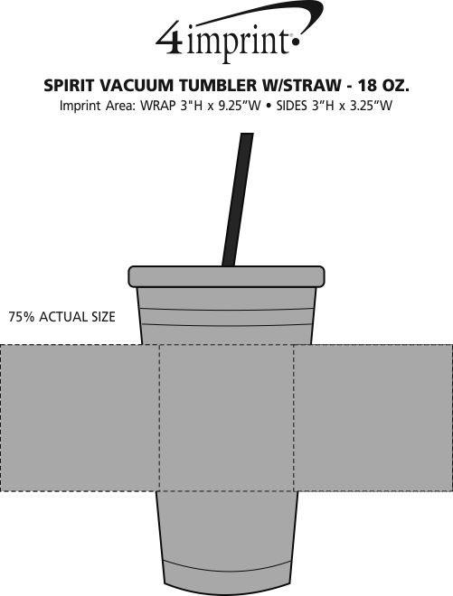 Imprint Area of Spirit Vacuum Tumbler with Straw - 18 oz.
