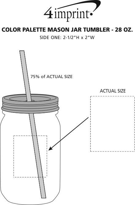 Imprint Area of Color Palette Mason Jar Tumbler - 28 oz.