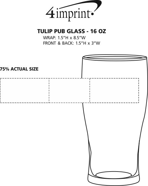 Imprint Area of Tulip Pub Glass - 16 oz.