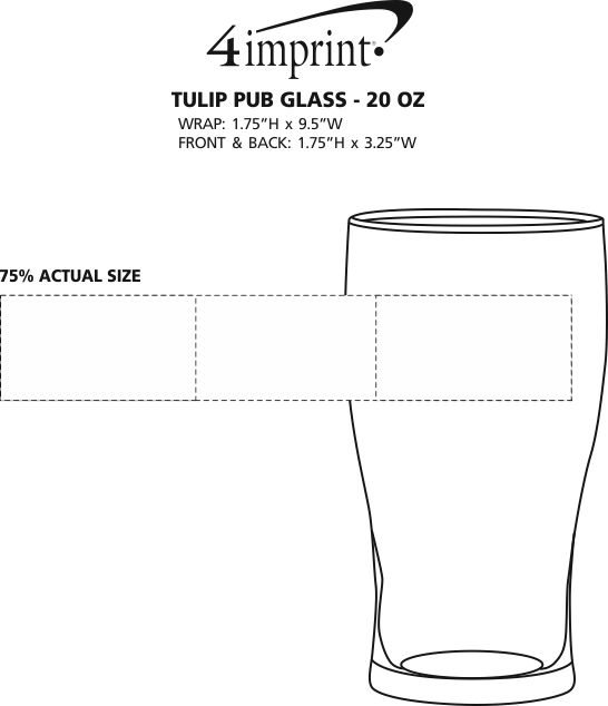 Imprint Area of Tulip Pub Glass - 20 oz.