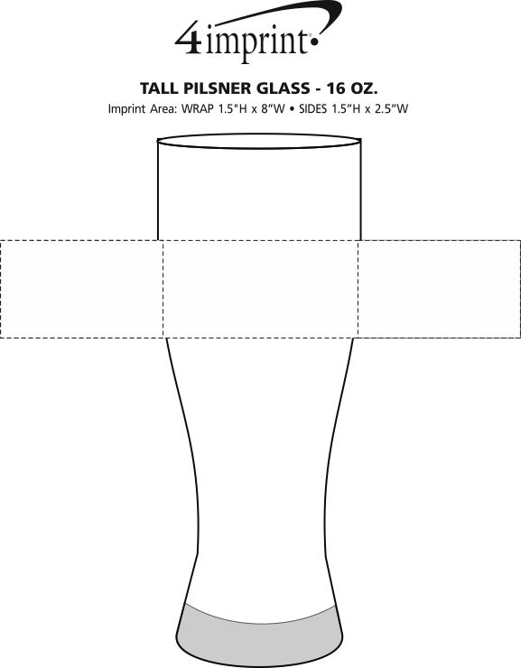 Imprint Area of Tall Pilsner Glass - 16 oz.