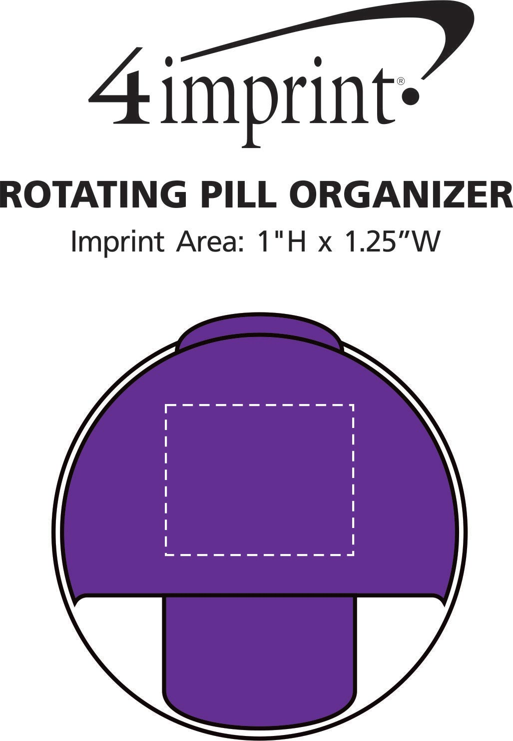 Imprint Area of Rotating Pill Organizer