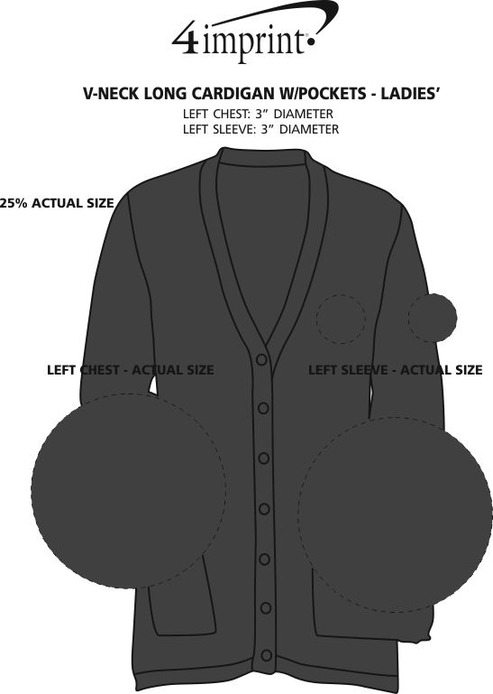 Imprint Area of V-Neck Long Cardigan with Pockets - Ladies'