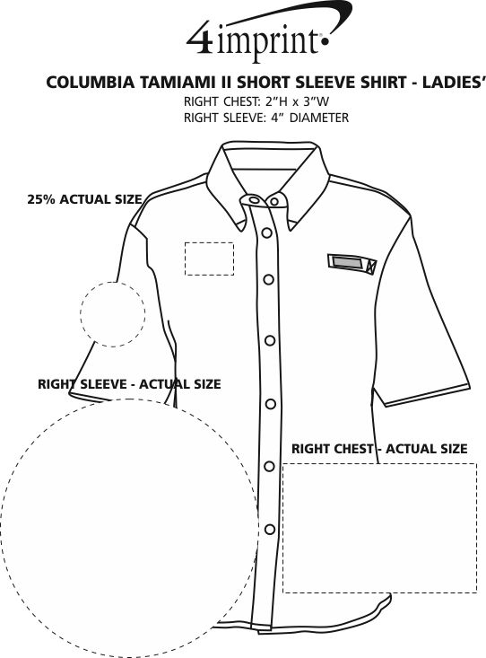 Imprint Area of Columbia Tamiami II Short Sleeve Shirt - Ladies'