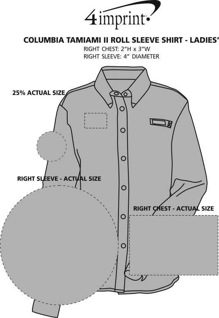 Imprint Area of Columbia Tamiami II Roll Sleeve Shirt - Ladies'