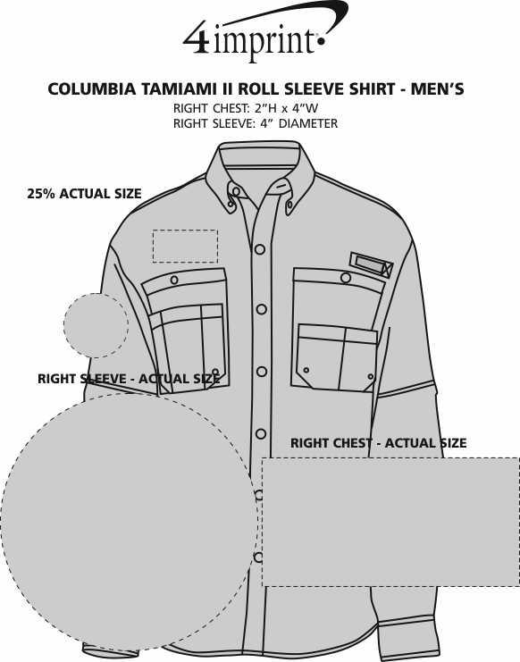 Imprint Area of Columbia Tamiami II Roll Sleeve Shirt - Men's