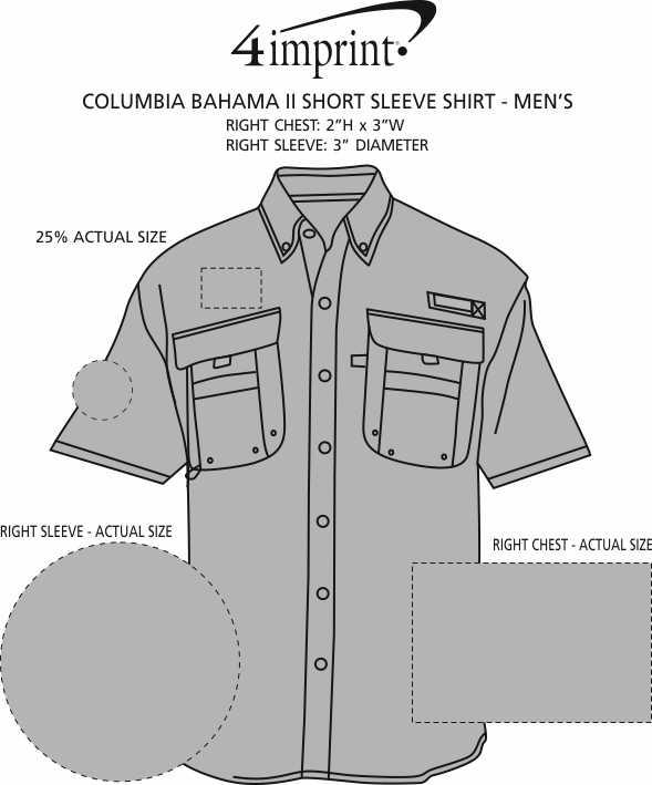 Imprint Area of Columbia Bahama II Short Sleeve Shirt - Men's