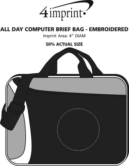 Imprint Area of All Day Computer Brief Bag - Embroidered