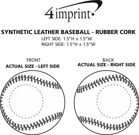 Imprint Area of Synthetic Leather Baseball - Rubber Core