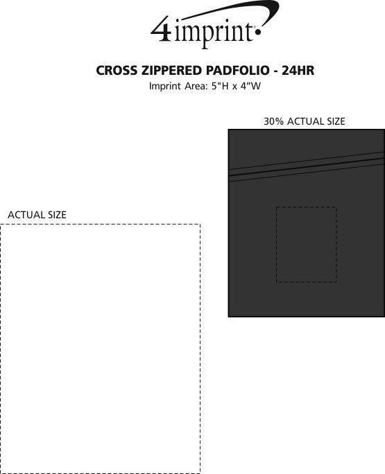 Imprint Area of Cross Zippered Padfolio - Debossed - 24 hr