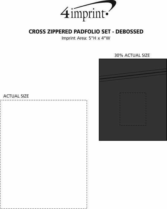 Imprint Area of Cross Zippered Padfolio Set - Debossed