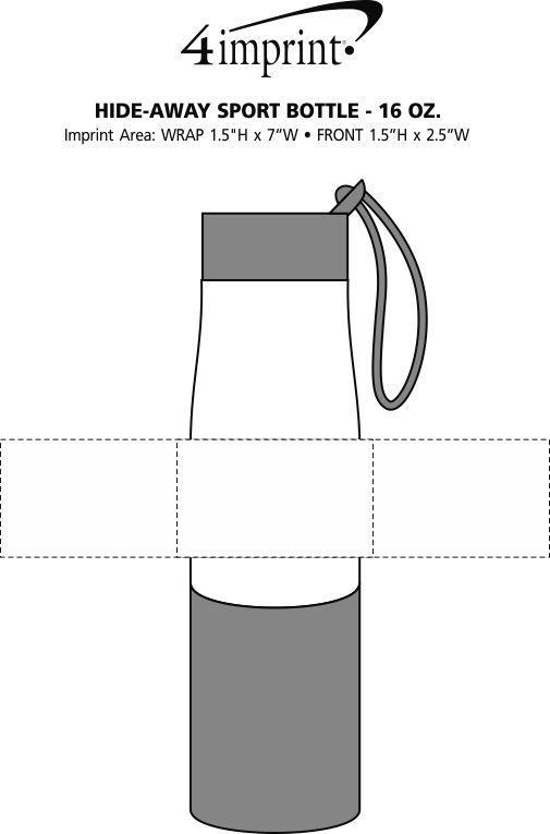 Imprint Area of Hide-Away Sport Bottle - 16 oz.