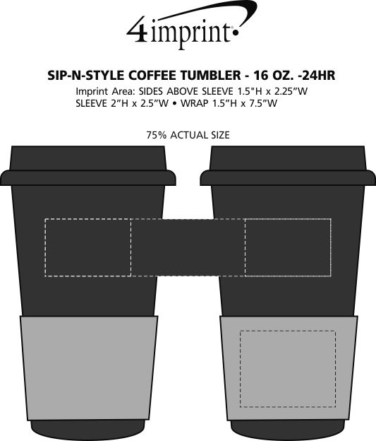 Imprint Area of Sip in Style Coffee Tumbler - 16 oz. - 24 hr