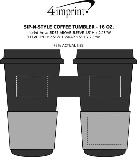 Imprint Area of Sip in Style Coffee Tumbler - 16 oz.