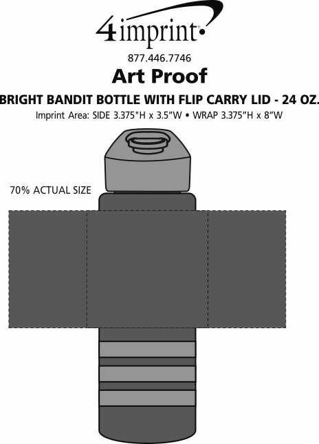 Imprint Area of Bright Bandit Bottle with Flip Carry Lid - 24 oz.