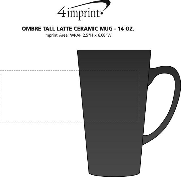 Imprint Area of Ombre Tall Latte Ceramic Mug - 14 oz.