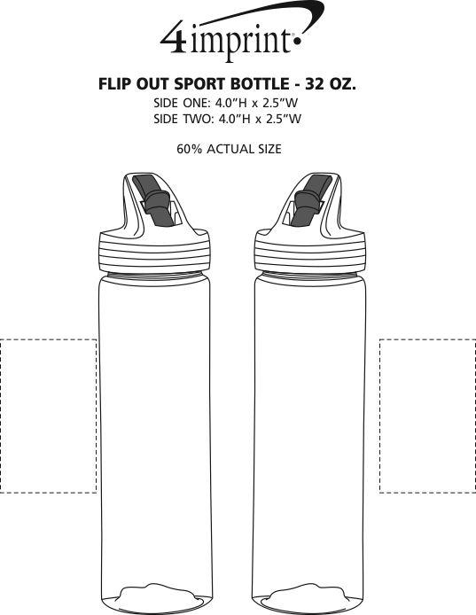 Imprint Area of Flip Out Sport Bottle - 32 oz.