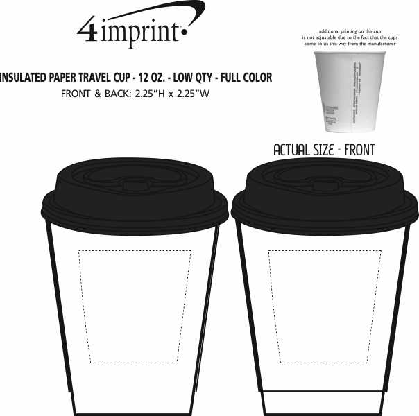 Imprint Area of Insulated Paper Travel Cup with Lid - 12 oz - Low Qty - Full Color