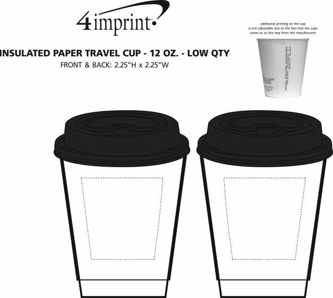 Imprint Area of Insulated Paper Travel Cup with Lid - 12 oz. - Low Qty