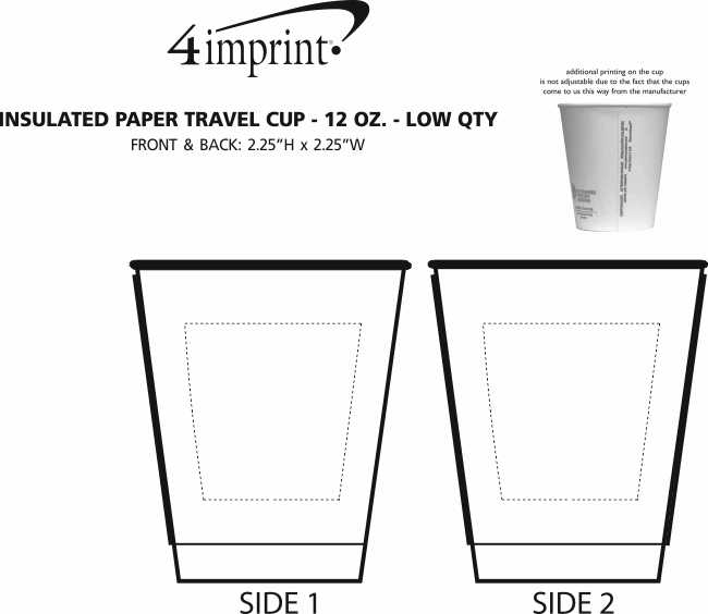 Imprint Area of Insulated Paper Travel Cup - 12 oz. - Low Qty
