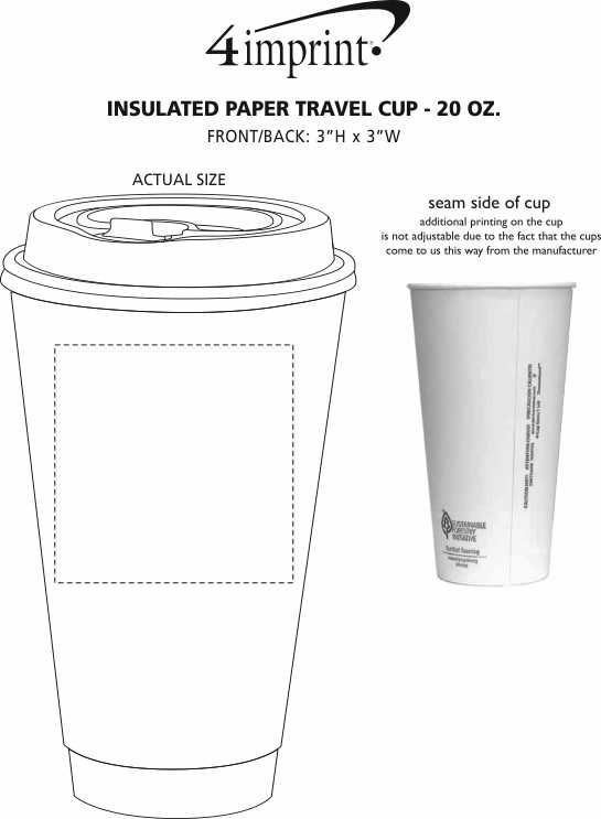 Imprint Area of Insulated Paper Travel Cup with Lid - 20 oz. - Low Qty
