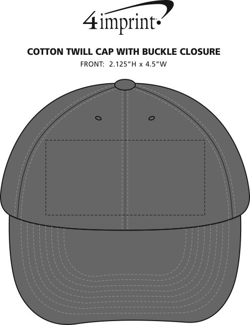 Imprint Area of Cotton Twill Cap with Buckle Closure