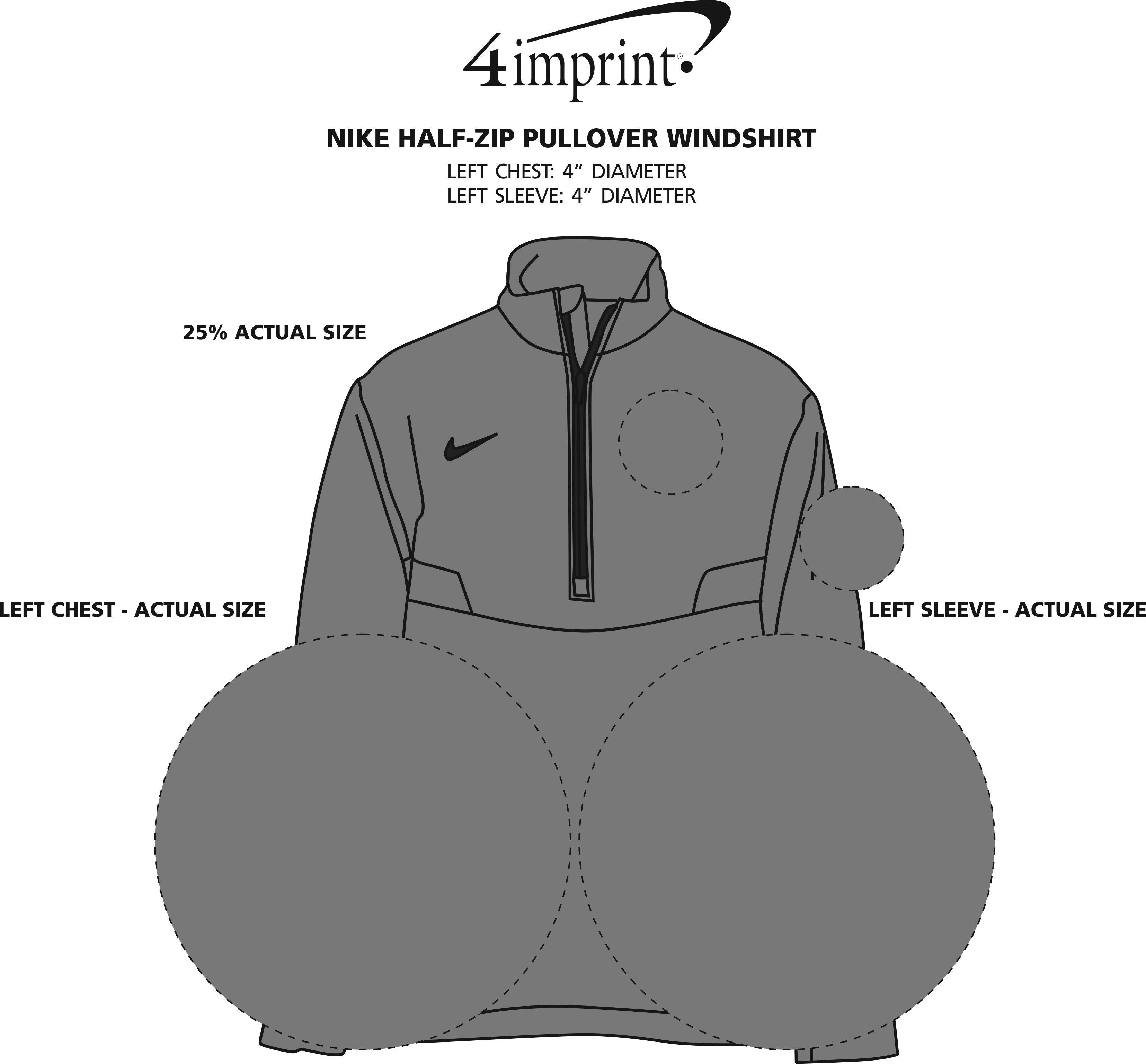 Imprint Area of Nike 1/2-Zip Pullover Windshirt