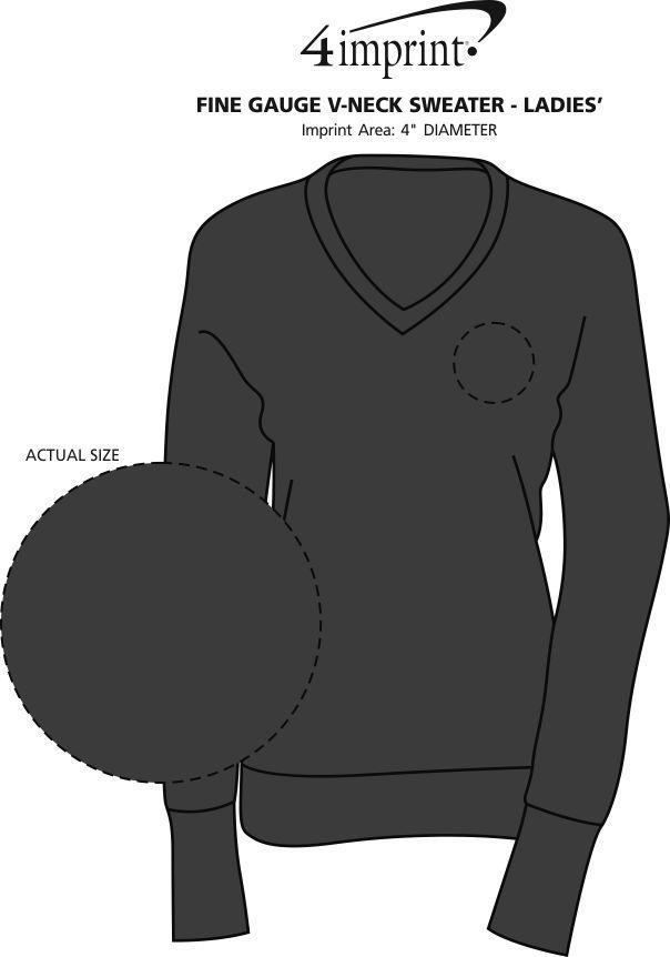 Imprint Area of Fine Gauge V-Neck Sweater - Ladies'