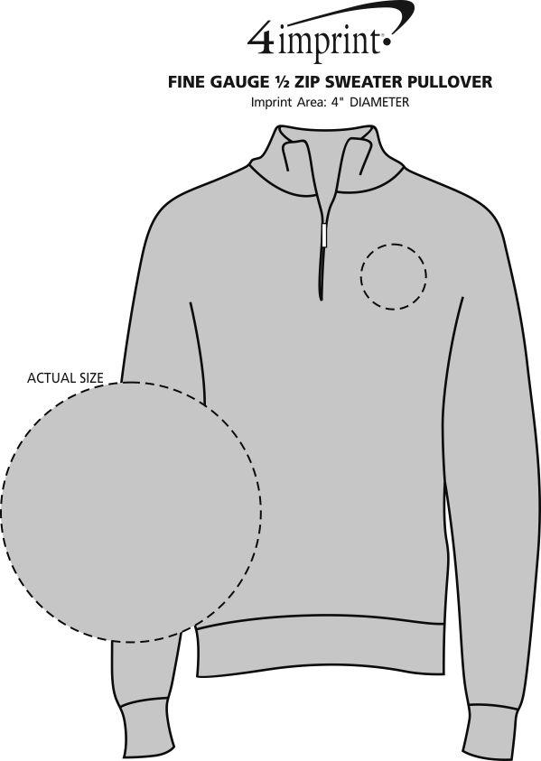 Imprint Area of Fine Gauge 1/2-Zip Sweater Pullover