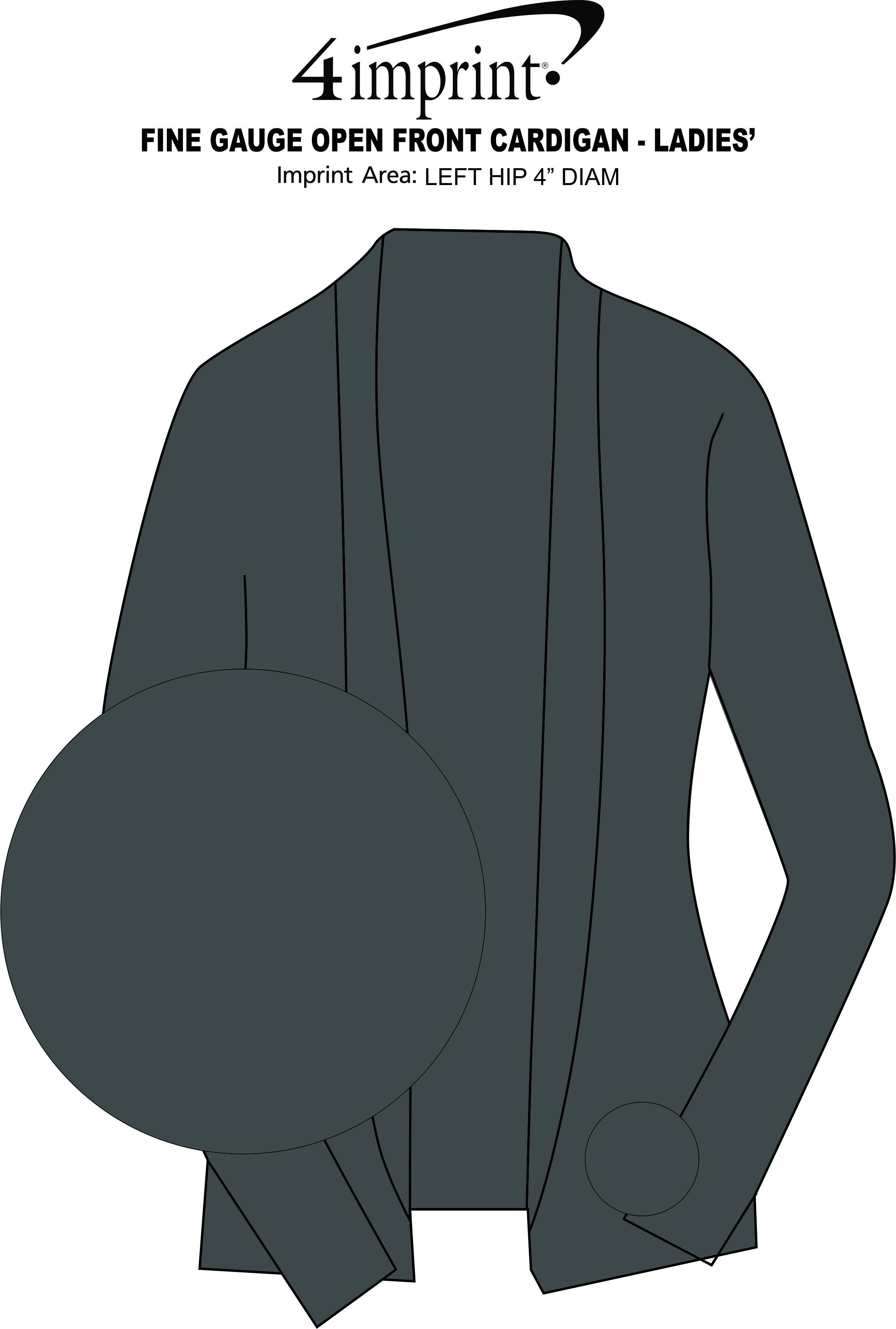 Imprint Area of Fine Gauge Open Front Cardigan - Ladies'