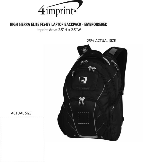 """Imprint Area of High Sierra Elite Fly-By 17"""" Laptop Backpack - Embroidered"""