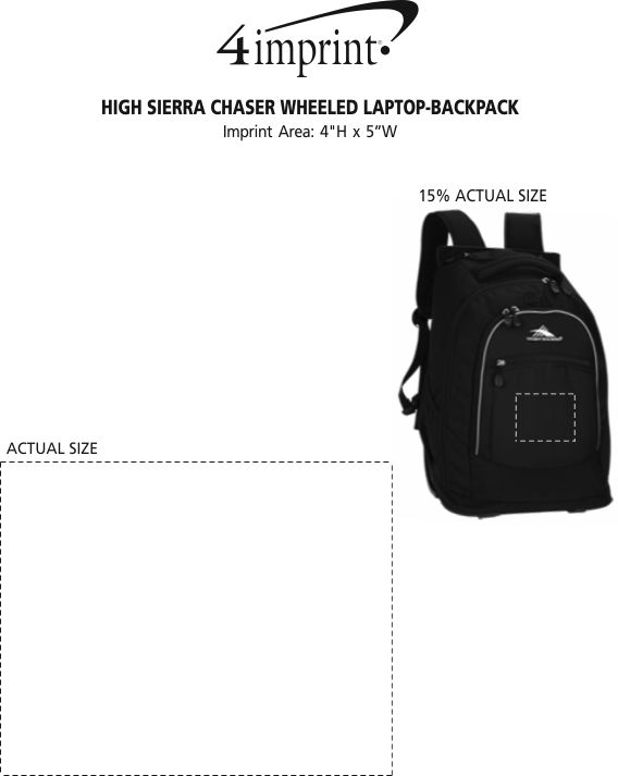 Imprint Area of High Sierra Chaser Wheeled Laptop-Backpack