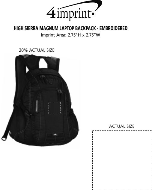 Imprint Area of High Sierra Magnum Laptop Backpack - Embroidered