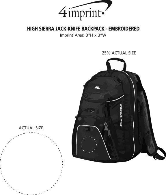 Imprint Area of High Sierra Jack-Knife Backpack - Embroidered