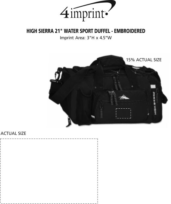 """Imprint Area of High Sierra 21"""" Water Sport Duffel - Embroidered"""