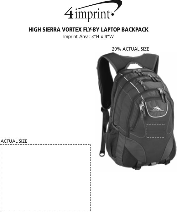 Imprint Area of High Sierra Vortex Fly-By Laptop Backpack