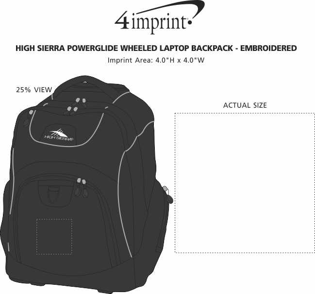 Imprint Area of High Sierra Powerglide Wheeled Laptop Backpack - Embroidered