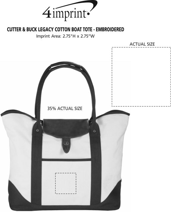 Imprint Area of Cutter & Buck Legacy Cotton Boat Tote - Embroidered